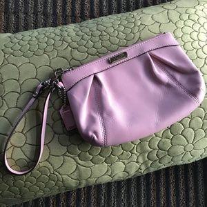 Like New Coach Light Pink Leather Wristlet